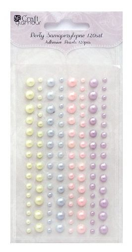 Adhesive pearls 120pcs - Pastel candies GRPE-017