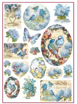 Decoupage Rice Paper A4 - Birds and light blue butterfly DFSA4077