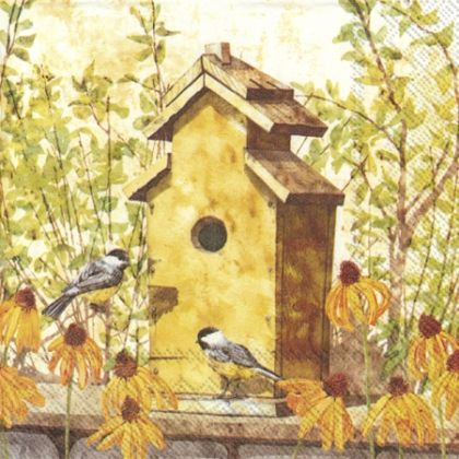 Decoupage napkins 33x33cm 20pcs - Birdhouse in fall L796900