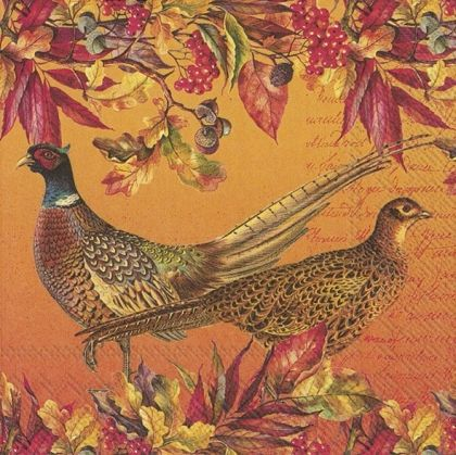 Decoupage napkins 33x33cm, 20 pcs. - Pheasants - L878700