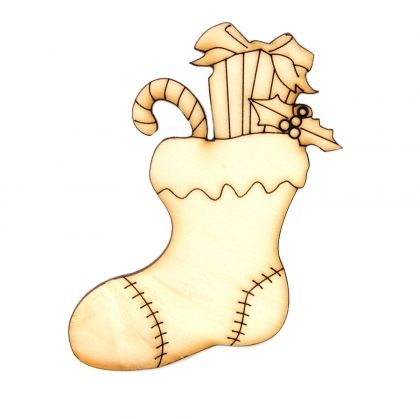 Wooden Christmas figurine - Christmas stocking with presents IDEA0359-22
