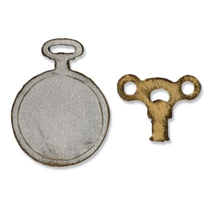 Sizzix Movers & Shapers Magnetic Die - Mini Clock Key & Pocket Watch 658561