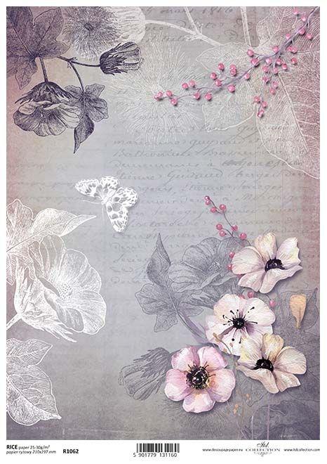 Rice Paper for Decoupage Scrapbook Craft A4 sheet Mauve Purple floral