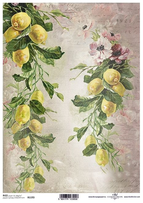 Rice Paper for Decoupage Scrapbooking Vintage Roses and Cherries A4 ITD R1195