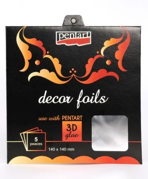 Decor foils 14x14cm, 5 sheets silver - P20737