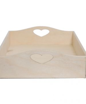 Wooden tray - Heart shape 30х21х7см IDEA1102