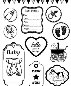 Rubber stamp 14x18cm - Baby WTKCC23