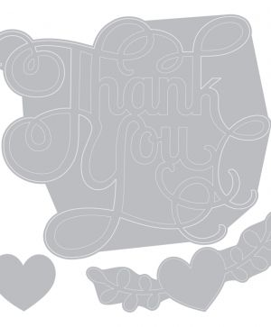 Sizzix Thinlits Die Set - Phrase, Thank You w/Hearts 660370
