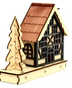 Wooden Christmas house, disassembled - IDEA1164