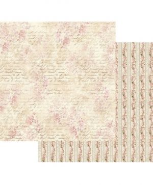 Double Face Scrap Paper 30.5x30.5cm - Pink Buttercup with writing SBB435