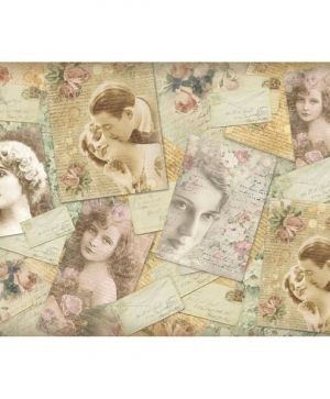 Decoupage rice paper 48x33cm - Amour  vintage postcards DFS353