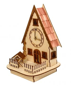 3D wooden puzzle - house with clock IDEAN1223