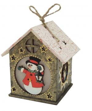 Wooden Christmas house, disassembled - Snowman IDEA0369