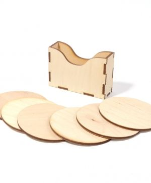 Wooden coasters 6 pcs - heart IDEA1273