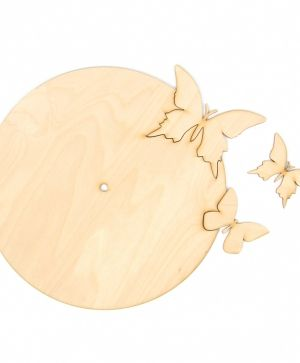 Wooden wall clock base - Butterflies IDEAN1298