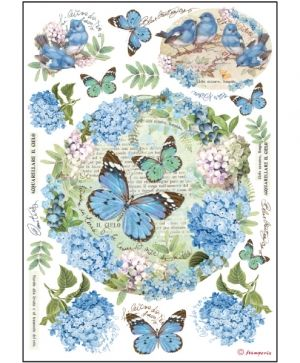 Decoupage Rice Paper A4 - Ortensie and buttlerly DFSA4183