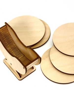 Wooden coasters 6 pcs - pumpkin IDEA1350