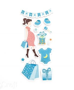 3D glitter stickers 12 pcs - Mom to be shopping blue DPNB-029