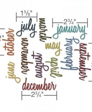 Sizzix Thinlits Die Set 12pcs - Calendar Words: Script 661179
