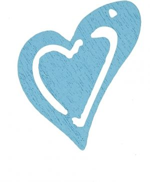 Wooden hearts 20pcs - blue C599216