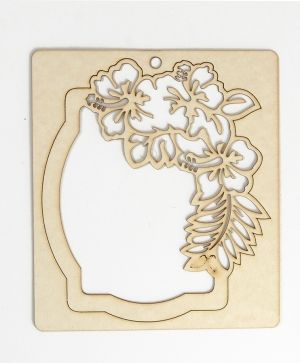 Chipboard elements - Label with roses IDEA1467