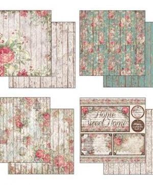 Pack 10 sheets double face 30x30cm - Roses, lace and wood SBBL25