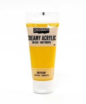 Creamy acrylic paint semi-gloss 60 ml - sun yellow P27923