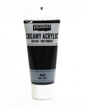 Creamy acrylic paint semi-gloss 60 ml - black P27941