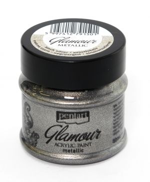 Glamour acrylic paint metallic 50 ml - black silver P29395