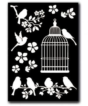 Stikers decotransfer A5 size - Cage and Birds DFTD02