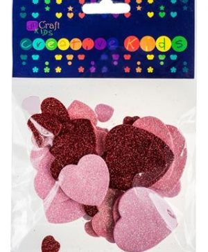 Glitter foam stickers 30pcs - Hearts KSPI-062