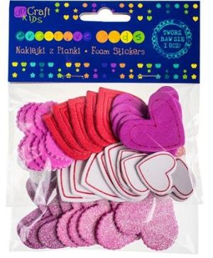 Glitter foam stickers 50pcs - Printed & glitter hearts KSPI-069