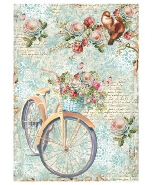 Decoupage Rice Paper A4 - Bike and branch with flowes DFSA4238