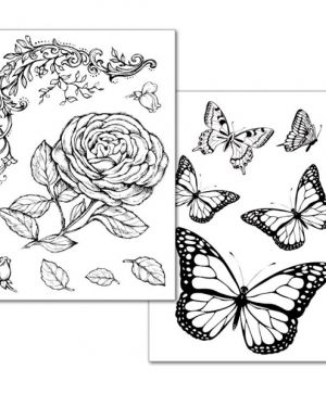 Transfer Paper A4, 2 sheets - Roses and butterfly DFTR038