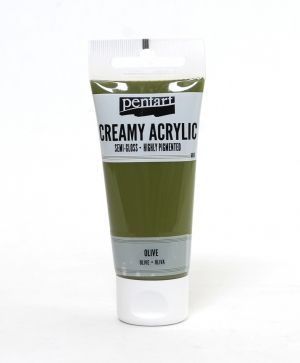 Creamy acrylic paint semi-gloss 60 ml - olive P27992
