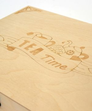 Wooden tea box 24х32х7cm - Tea time IDEA1610
