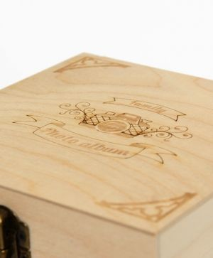Wooden box 15х15х8cm - Family photo album IDEA1612