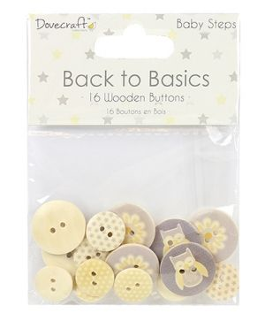 Dovecraft Wooden Buttons 16pcs - Baby Steps DCBTN019