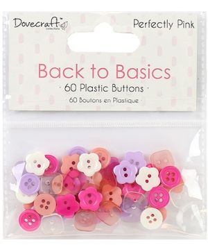 Buttons for decoration 60pcs - Perfectly Pink DCBTN020