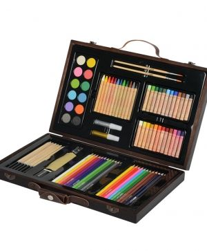 Deluxe Wood Art Set for Kids in Wooden Case - A199458