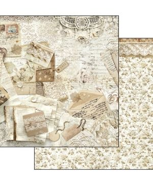 "Double face scrap paper 12""x12"" - Old lace - Postcards and lace SBB524"