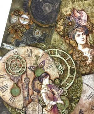 Decoupage Rice Paper A4 - Steampunk woman with hat DFSA4268