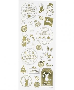 Stickers, sheet 10x24 cm, approx. 26 pc, gold, Christmas - C29149