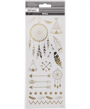 Stickers, sheet 10x24 cm, approx. 29 pc, gold, christmas stars - C29150