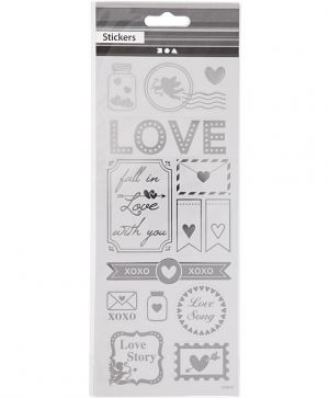 Stickers, sheet 10x24 cm, approx. 25 pc, silver, hearts - C29140