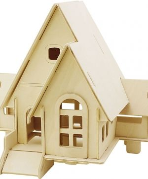 3D Wooden Construction Kit, House with balcony, size 15,8x17,5x19,5 C57877