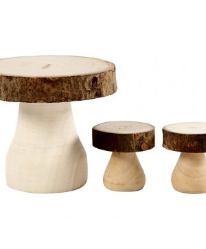 Mushroom Table with Stools, size 6x5 cm, size 2,5x2,5 cm, 1set - C56518