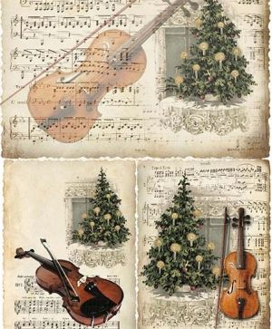 Decoupage Rice Paper A4 - Violin and Christmas tree ITD-R188