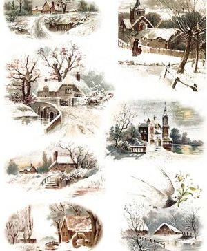 Decoupage Rice Paper A4 - Snowy landscapes 2 ITD-R463