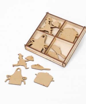 Laser cut wooden shapes  MDF set 20pcs - Cookery IDEA1649